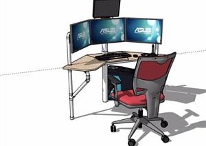 现代详细的室内电脑桌椅组合素材设计SU(草图大师)模型