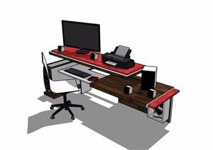 详细的完整室内办公桌椅素材设计SU(草图大师)模型
