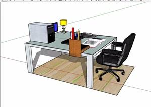 独特详细的室内办公桌椅素材设计SU(草图大师)模型