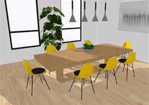 某现代详细的室内桌椅素材设计SU(草图大师)模型