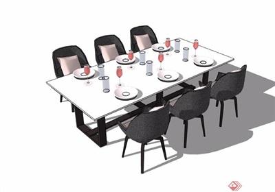 某现代详细的室内餐桌椅素材设计su模型