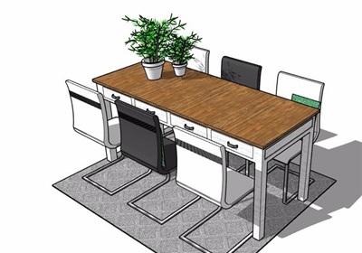 某现代详细的室内桌椅组合设计su模型