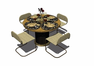 某现代详细的室内四人餐桌椅素材设计SU(草图大师)模型