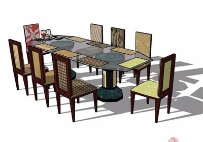 某现代室内餐桌椅素材设计su模型