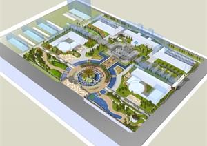 公园场景 模型丰富详细,材质贴图清晰,具有很高的学习参考价值