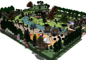 公园场景 (14)模型丰富详细,材质贴图清晰,具有很高的学习参考价值