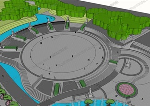 广场模型 (34)模型丰富详细,材质贴图清晰,具有很高的学习参考价值