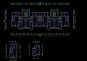 高层户型 两梯四户 三室两厅 两室一厅cad户型图