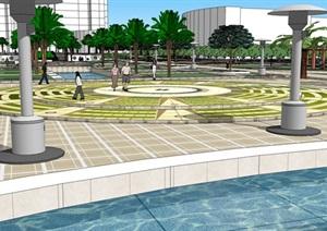 广场模型 (40)模型丰富详细,材质贴图清晰,具有很高的学习参考价值