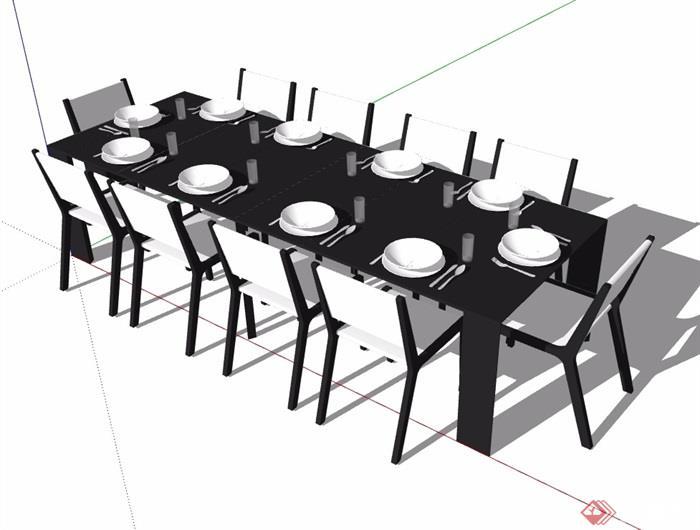 某現代室內客廳餐桌椅su模型