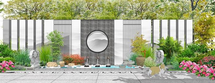 新中式景墙水池 山水景墙 植物 场景(2)