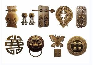 中式古风五金件组合3D模型
