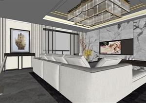 港式后现代轻奢风格住宅室内设计
