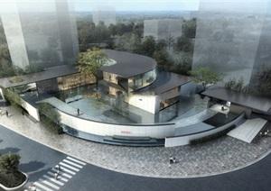 圆弧形悬挑艺术文化馆示范区售楼中心