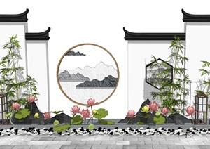 新中式景墙 景观小品 荷花荷叶 灯具 石头组合SU(草图大师)模型