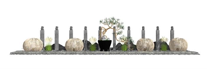 新中式景观小品 片石景墙 石板 栓马柱组合su模型3(1)