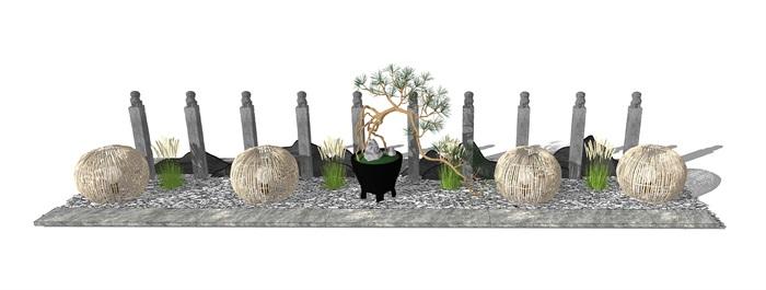 新中式景观小品 片石景墙 石板 栓马柱组合su模型3(2)