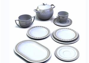 现代多种餐具详细素材设计3d模型及效果图