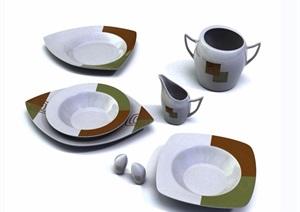 某现代详细餐具详细素材设计3d模型及效果图