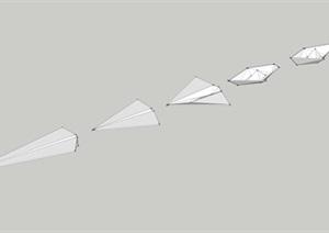 纸船纸飞机演变组合SU(草图大师)模型