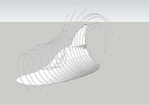 抽象景观雕塑小品SU(草图大师)模型