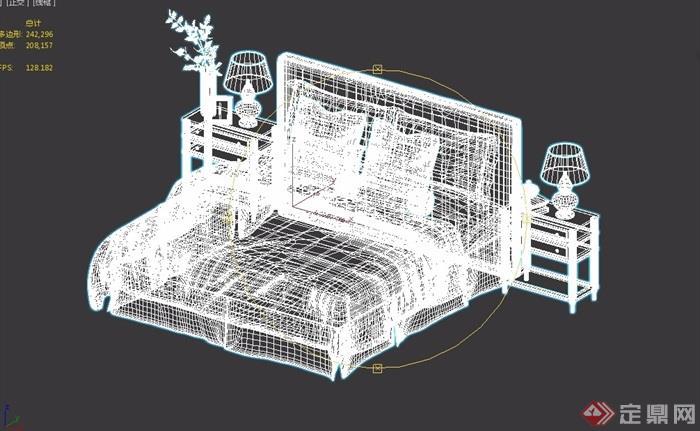 详细的室内卧室床柜素材设计3d模型