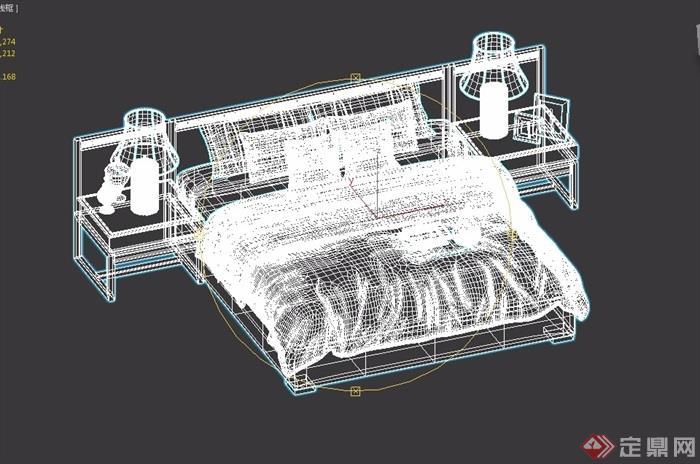 某现代风格室内卧室床柜灯饰设计3d模型及效果图