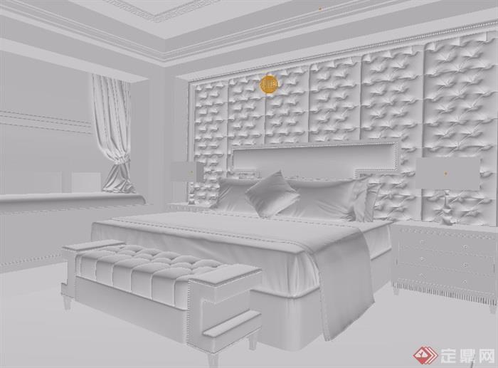 某獨特臥室空間裝飾設計3d模型