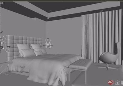 现代室内卧室空间装饰3d模型