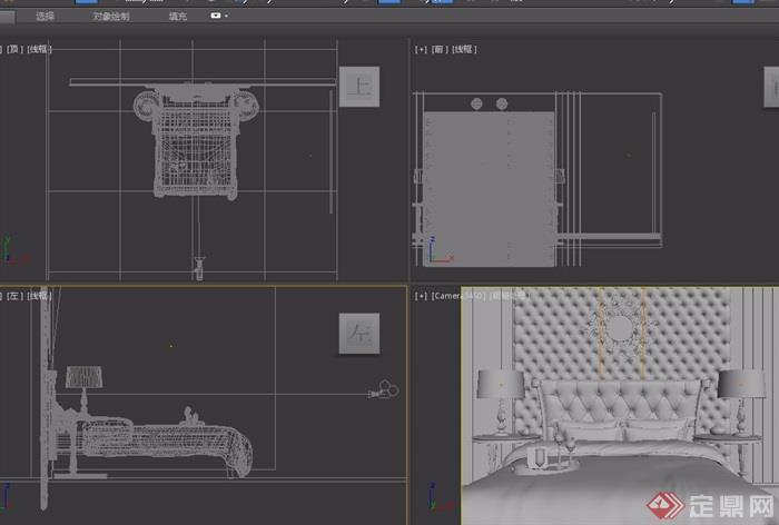 某简欧室内卧室空间装饰设计3d模型及效果图