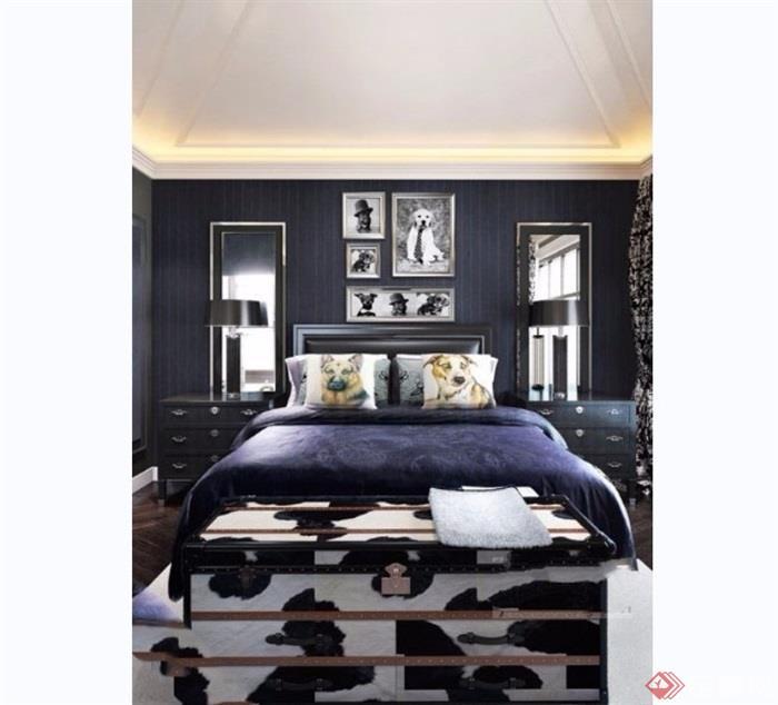 室内卧室空间装饰设计3d模型及效果图