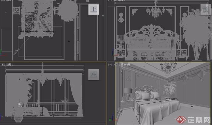 歐式整體詳細的室內臥室空間裝飾設計3d模型及效果圖