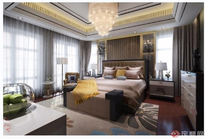 獨特詳細的整體室內臥室空間裝飾設計3d模型及效果圖