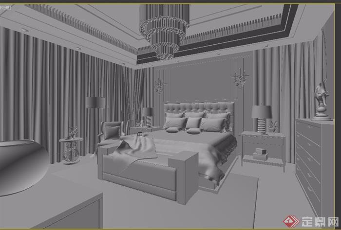 独特详细的整体室内卧室空间装饰设计3d模型及效果图