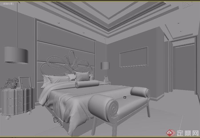獨特整體臥室空間裝飾設計3d模型及效果圖