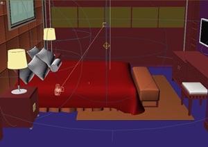 现代风格住宅详细的整体室内卧室3d模型