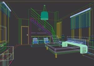 现代住宅室内卧室装饰3d模型