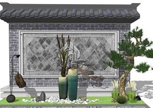 新中式景观小品 庭院小品陶罐植物组合SU(草图大师)模型