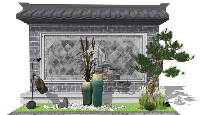 新中式景观小品 庭院小品陶罐植物组合(3)