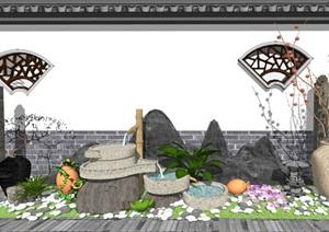 新中式景观小品 庭院小品 跌水景观植物组合SU(草图大师)模型