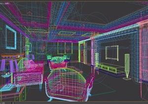 现代风格住宅详细的室内主卧室3d模型