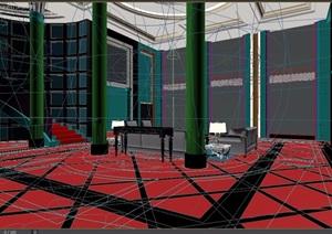 现代风格住宅详细的别墅室内客厅3d模型