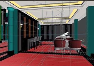 现代风格住宅详细的室内餐厅素材3d模型