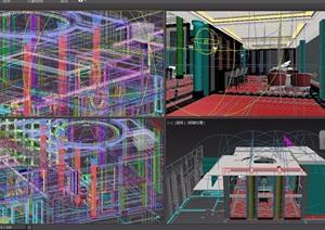 现代风格住宅详细的室内餐厅3d模型