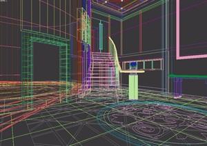 现代风格住宅详细的室内过道楼梯设计3d模型