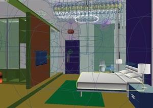 现代风格住宅详细的室内独特卧室设计3d模型