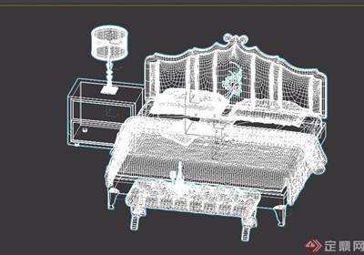 欧式室内独特卧室床柜设计3d模型