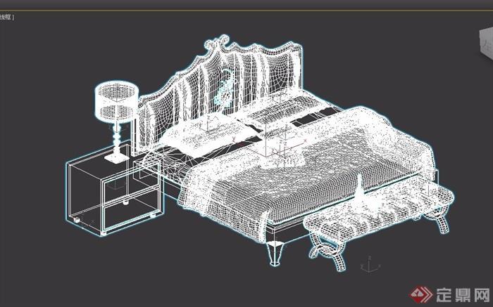 歐式室內獨特臥室床柜設計3d模型