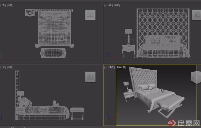 欧式独特室内卧室床设计3d模型