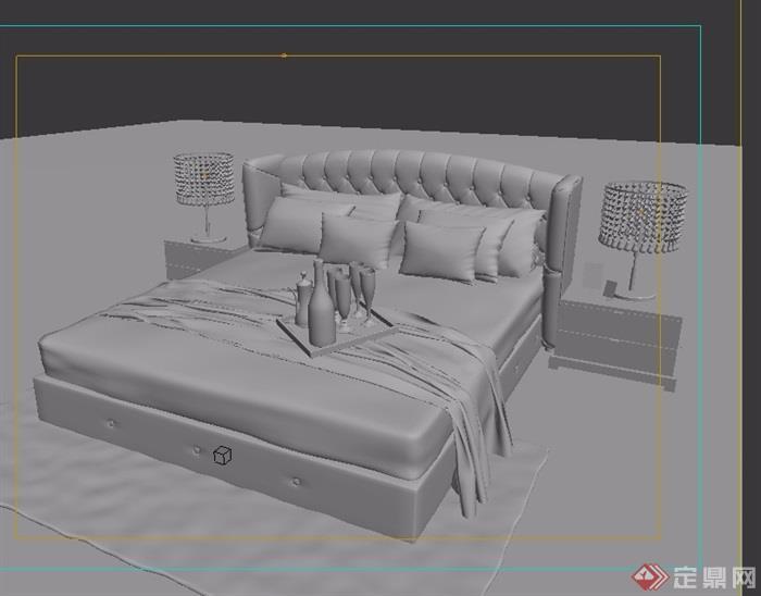 欧式室内卧室床柜子组合设计3d模型